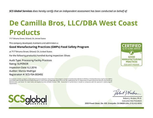 West Coast Products GMP Certification