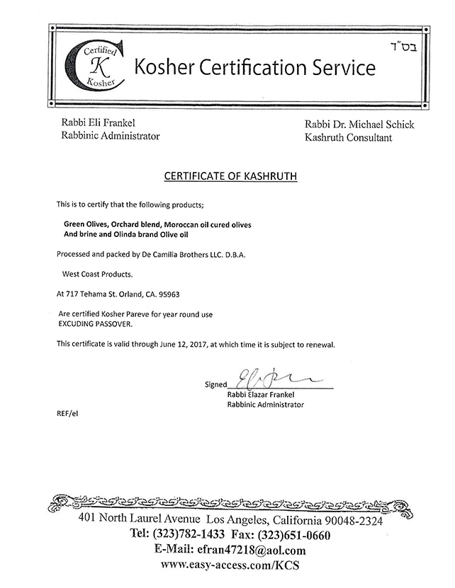 West Coast Products Kosher Certification